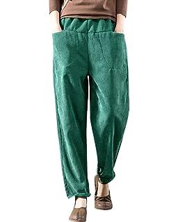 0e6898afde2c Bigassets Femmes Hiver Taille Elastique Décontractée Pantalon en Velours  côtelé avec Poches