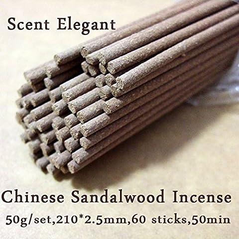Madera de Sándalo–Incienso Incienso de sándalo Chino 50g + 60Incienso Aroma elegante de hierbas diseño de templo budista
