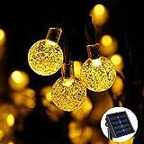 Qedertek Guirnalda de Luces Solar 6M 30 LED Luz de Bola de Cristal Guirnalda Luminosa para Exterior Cadena de luces Decorativas para Jardín Patio Bodas Terraza Árbol de Navidad (Blanco Cálido)