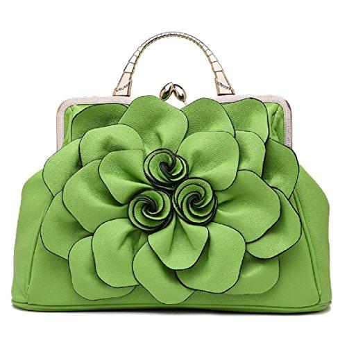 Damen Rosen Handtasche Stilvoll Schultertasche Griff Taschen Tote Mode Taschen light green (spot)