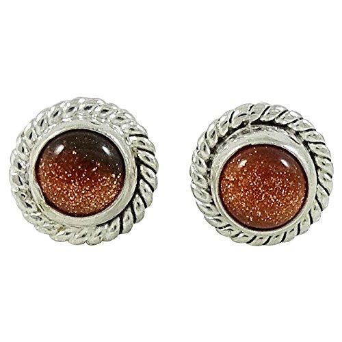 Plaqué Argent Pierre Boucles D'Oreilles Stud Mode Indien Cadeau Boucles D'Oreilles De Bijoux Pour Les Femmes marron