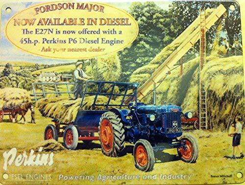 s Traktor Perkins Diesel Motor Vintage Wandschild aus Metall/Stahl, groß ()