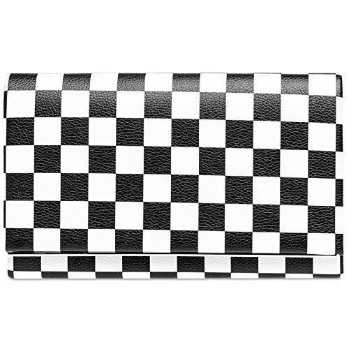 CASPAR TA425 ausgefallene Damen 50er Retro Envelope Clutch Tasche, Farbe:schwarz/weiß KAROS;Größe:One Size