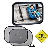 Baby Car Mirror with Baby on Board Sign & Pack of 2 Car Window Roller Shade, Emwel Baby Shatterproof Rear View Mirror for Rearward Facing Child Seat, Fits Any Adjustable Headrest Tilt and Turn Function