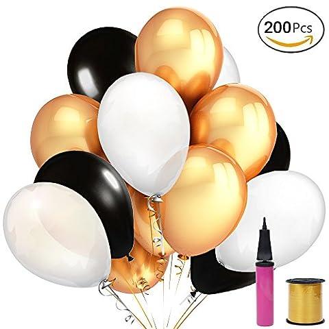JUSLIN 200 Stück 12 Zoll Luftballons Gold Schwarz Weiß Latex Ballone, mit Luftpumpe und Seidenband, für Party Dekorations