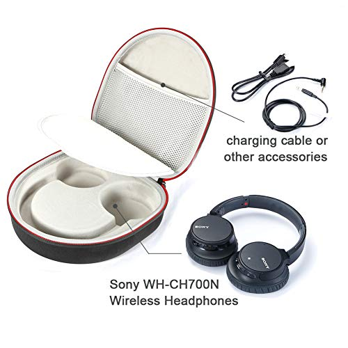 Coque Rigide pour Casque sans Fil à Annulation de Bruit Sony WH-CH700N, Sac de Transport et de Voyage - Noir