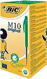 BIC M10 Original Stylos-Bille Rétractables Pointe Moyenne (1,0 mm) - Vert, Boîte de 50