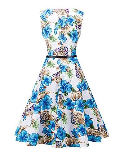 Femmes Occasionnels Impression Vintage Ronde Sans Manches A-Line Dress Bleu clair
