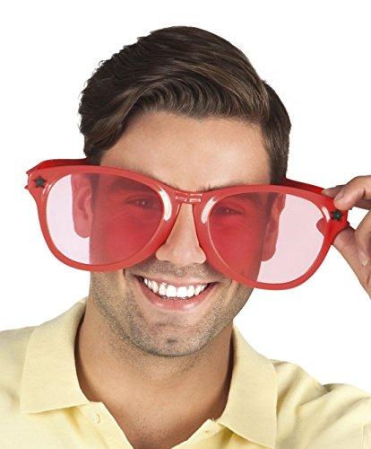 Sonnenbrille, Kostümzubehör, Karneval, Fasching, Rot (Jumbo Clown Brille)