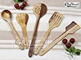 #1: R Crafts Handmade Wooden Non-Stick Serving And Cooking Spoon Kitchen Tools Utensil, Set Of 5