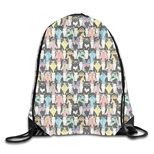 EELKKO Drawstring Backpack Gym Bags Storage Backpack, Pattern with Hipster Playful Feline Characters with Glasses and Bowties Vintage Style,Deluxe Bundle Backpack Outdoor Sports Portable Daypack Vintage Bowties