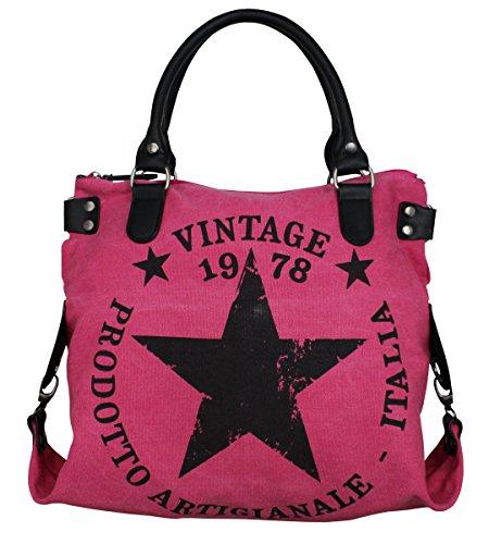 LUXUS VINTAGE STERN DAMEN TASCHE STAR STOFFTASCHE CANVAS SHOPPER LEDER HANDTASCHE Grau (Pink) - Star Canvas-tasche