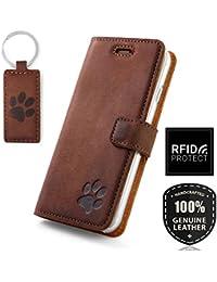 e80364264a328 SURAZO Für Apple iPhone X XS - Hund Pfote - RFID Premium Ledertasche  Schutzhülle Wallet