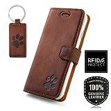 SURAZO Apple iPhone 6 Plus / 6s Plus - Hund Pfote - RFID Premium Ledertasche Schutzhülle Wallet Case aus Echtesleder Farbe Nussbraun Apple iPhone 6 Plus / 6s Plus