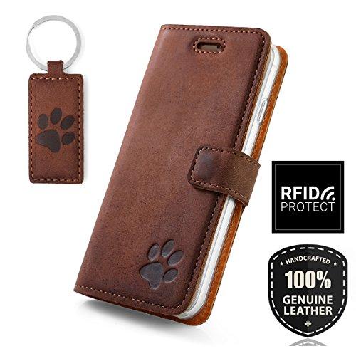 SURAZO H& Pfote - RFID Premium Ledertasche Schutzhülle Wallet Case aus Echtesleder Farbe Nussbraun für Apple iPhone 6 / 6s