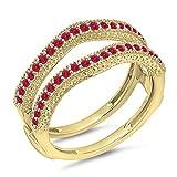 DazzlingRock Collection Damen 0,45 Karat Gold 14K Roten Rubin Diamant Ehering Millgrain Schützen Doppel-Ring 1/2 Ct 9