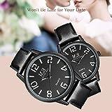 ❄Valentinstagsgeschenk❄Einfache Paare Uhren klassische Analoge Quarz Schwarzes Lederband für sie und ihn-2ER-SET