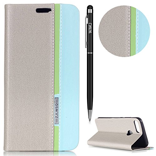 Touch-tone-telefon Telefon (WIWJ Huawei Honor 9 Lite Hülle,Huawei Honor 9 Lite Leather Handyhülle, Handyhülle Wallet Case[Ton-Serie Tricolor Ledertasche] Schutzhüllen für Huawei Honor 9 Lite-Grau + Himmelblau (+ grüne Streifen))