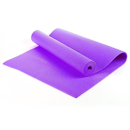 Yoga Exercise Fitness Workout Non Slip Mat With Carry Case 6mm Thick TNP Accessories (Purple)