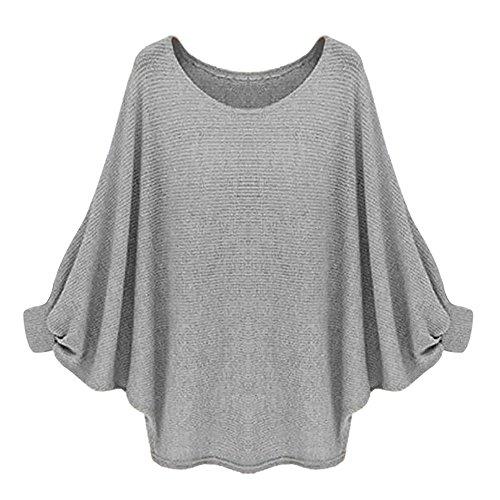 Reasoncool Le donne oversize Batwing lavorato a maglia Pullover allentato maglione (Free Size, Grigio)