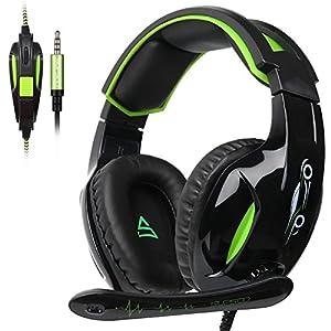 SUPSOO G811 Stereo Gaming Headset für PS4, PC, Xbox One Controller, Rauschunterdrückung über Ohr-Kopfhörer mit MIC, Bass Surround, Soft-Memory-Ohrenschützer für Laptop Mac (schwarz & grün)
