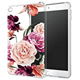 LUOLNH iPad Mini Case,iPad Mini 2 Case,iPad Mini 3 Case,iPad Mini Case with flowers, Slim Silicone Clear Floral Pattern Soft Flexible TPU Skin Case Protector Shell for iPad Mini 1/2/3 -Purple Rose