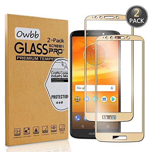 Owbb [2 Stück] Gold Gehärtetes Glas Display schutzfolie Für Motorola Moto E5 Plus (6,0 Zoll) Full Coverage Schutz 99% High Transparent Explosionsgeschützter Film