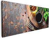 Wallario Leinwandbild Kräuter (Basilikum, Schnittlauch), Öle und Gewürze auf Holzbrett in der Küche - 50 x 125 in Premium-Qualität: Brillante lichtechte Farben, Hochauflösend, verzugsfrei
