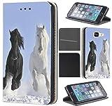 Samsung Galaxy S4 Mini Hülle von CoverHeld Premium Flipcover Schutzhülle Flip Case Motiv (509 Pferd Pferde Schwarz Weiß im Schnee)