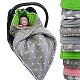 BAMBINIWELT Einschlagdecke, Decke für Babyschale, 3 und 5 Punkt-Gurt-System (grau-grün Sterne)