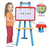 2 in 1 Kindertafel Klappbar, Maltafel Magnettafel Kunststoff Beidseitig Kreidetafel, Standtafel für Kinder 85 x 39.5 x 38.5cm