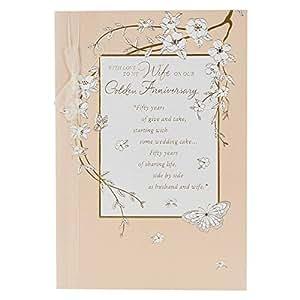 Hallmark Carte de voeux pour noces d'or Style traditionnel Motif en relief Inscription Wife Taille L