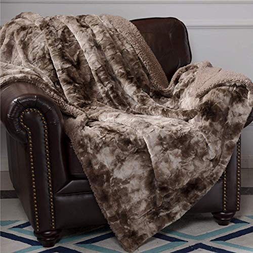 Pregiato sherpa, coperta matrimoniale coperta di pelliccia artificiale in microfibra coperta di cotone coperta in pile morbido per letto e divano
