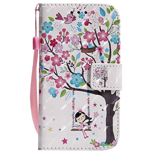 EUWLY Kompatibel mit Samsung Galaxy S4 Hülle Klapphülle Leder Tasche Flip Cover Wallet Case Glänzend Bling Glitzer Handytasche Leder Schutzhülle Handyhülle Bookstyle,Blume Baum
