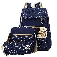 9ca32d28f2f92 Kız çocuk Canvas sırt çantası-set 3-parça desenli okul çantası Laptop okul  sırt