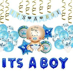 Oumezon Babyparty Junge, Baby Dusche Dekoration Ballons, Babyparty Deko für Junge, its a Boy babyshower deko, its a Boy Banner+It's a Boy Ballon+5 Heliumballon Baby Folienballon+20 Latexballons