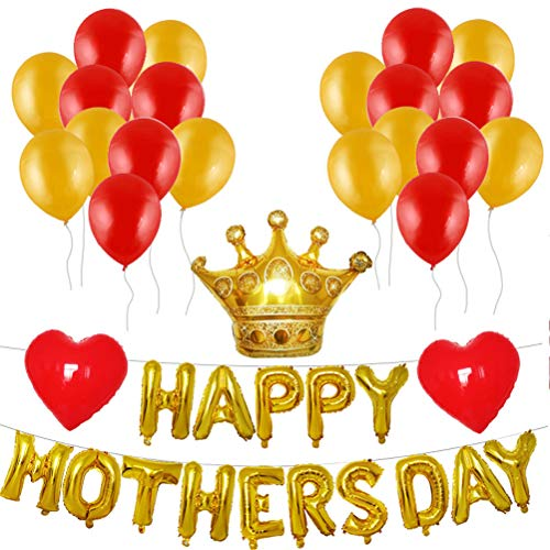 (Amosfun Muttertag Ballon Banner Krone Folienballon Buchstabenballon Herzballon Latexballons Luftballons Happy Mothers Day Party Deko)
