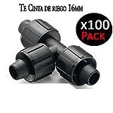 Suinga union para CINTA DE RIEGO por goteo 16mm. Enlace para conectar tress cintas de riego. Pack 100 unidades.