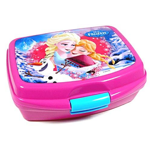 Unbekannt Frozen die Eiskönigin Brotbox Brotdose Lunchbox in Rosa/türkis Anna und ELSA mit Klickverschluss Leichtes Material Vesperdose Frühstücksbox für Kinder