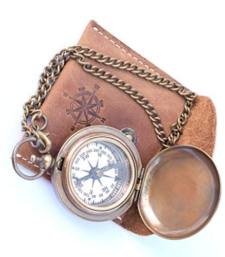 NEOVIVID Neovid Handgefertigter Kompass aus Messing mit Ledertasche, Taschen-Kompass,...