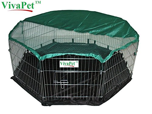 VivaPet Kleintierstall Puppy Cat Run Käfig, mit Abdeckung für Sonnenschutz, 8Panel, 140cm, mit Wasserdicht Nylon Boden Wasserdichte 8
