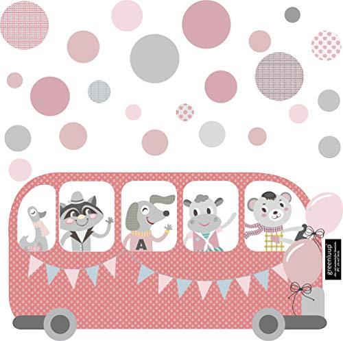 r Wandtattoo Kinderzimmer Babyzimmer Mädchen Grau Rosa Tiere Bus Ballons Dots Kreise Punkte (w32) ()