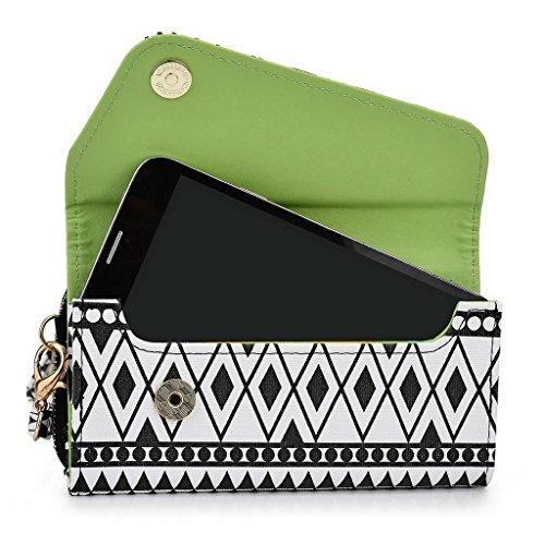 Kroo Pochette/étui style tribal urbain pour Prestigio MultiPhone 4505Duo White and Orange Noir/blanc