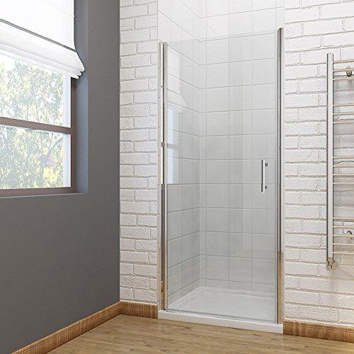 Duschkabine Eckeinstieg 90cm Duschtür Rahmenlos Pendeltür Schwingtür Duschabtrennung Echtglas 90cm, Höhe 195cm