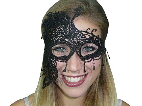 HO-Ersoka Damen Augenmaske Spitze Stickerei Pfau Motiv Maskenball Venezia schwarz