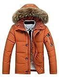 Glestore Winter Baumwolle Herren Wintermantel mit Pelzkragen Kapuzenjacke Outdoorjacke Winterjacke Warm Mantel Orange XS