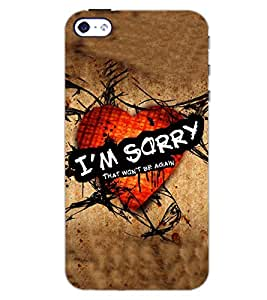 PrintDhaba HEART SORRY D-6517 Back Case Cover for APPLE IPHONE 5 (Multi-Coloured)