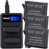 TOP-MAX® 3X Rechargeable Battery + Rapid 2-Channel Charger + USB Cable for Gopro Hero 4 Camera Camcorder,Replacement for AHDBT401, AHBBP-401