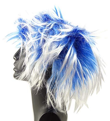 perruque Punk Carnaval cheveux coiffure 4377 Lot Carnaval Neon peruecken (Bleu)