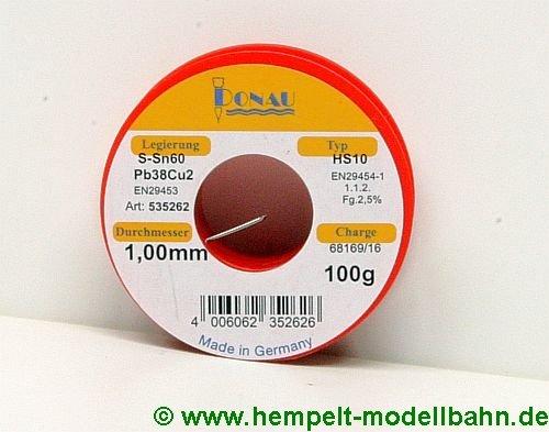 LZ100 - Lötzinn Ø 1 mm, Spule 100 g